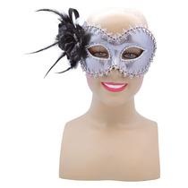 Masquerade Costume - Silver Face Eye Mask Adjunto Rose
