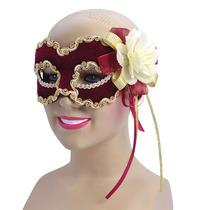 Masquerade Costume - Bola Flor De Terciopelo Borgoña Ladies