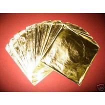 100 Hojas De Oro Arte Artesanias Con Instructivo Gratis
