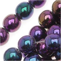 Cuentas Druk Redondas De Vidrio Checo 6mm Iris Púrpura (50)