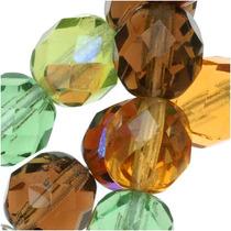 Perlas De Ámbar Verde Y Marrón Con Vidrio Checo Horneado
