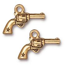 Colgante Seis Pistolas De Peltre Dorado De 22k De Tierracast