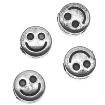 Cuentas De Caritas Sonrientes, Plástico Metalizado Plateado,