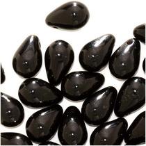 Cuentas De Vidrio Checas De 9mm Lágrima Negro Azabache (50)