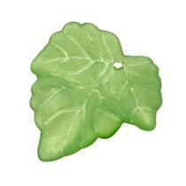 Cuentas Lucita Hojas De Uva Verde Hierba Mate 25mm (10)