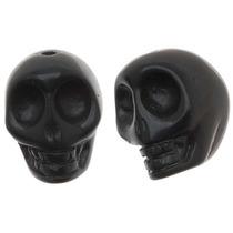 Cuentas De Calaveras Esculpidas En Negro Jaspe 14x18mm (10)