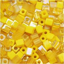 Miyuki Mezcla De Cuentas De Cubos 4mm Amarillos 10 Gramos