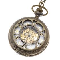 Reloj De Bolsillo Colgante De Latón Mecánico C/tapa De Flor