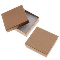 Cajas Cuadr. Cartón P/joyas Kraft, 89x89x25mm, Marrón (100)