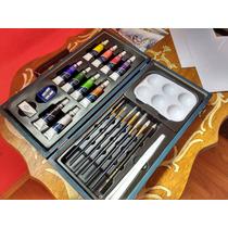 Estuche De Madera Con 25 Pcs Para Pintura Acrilica Arte,