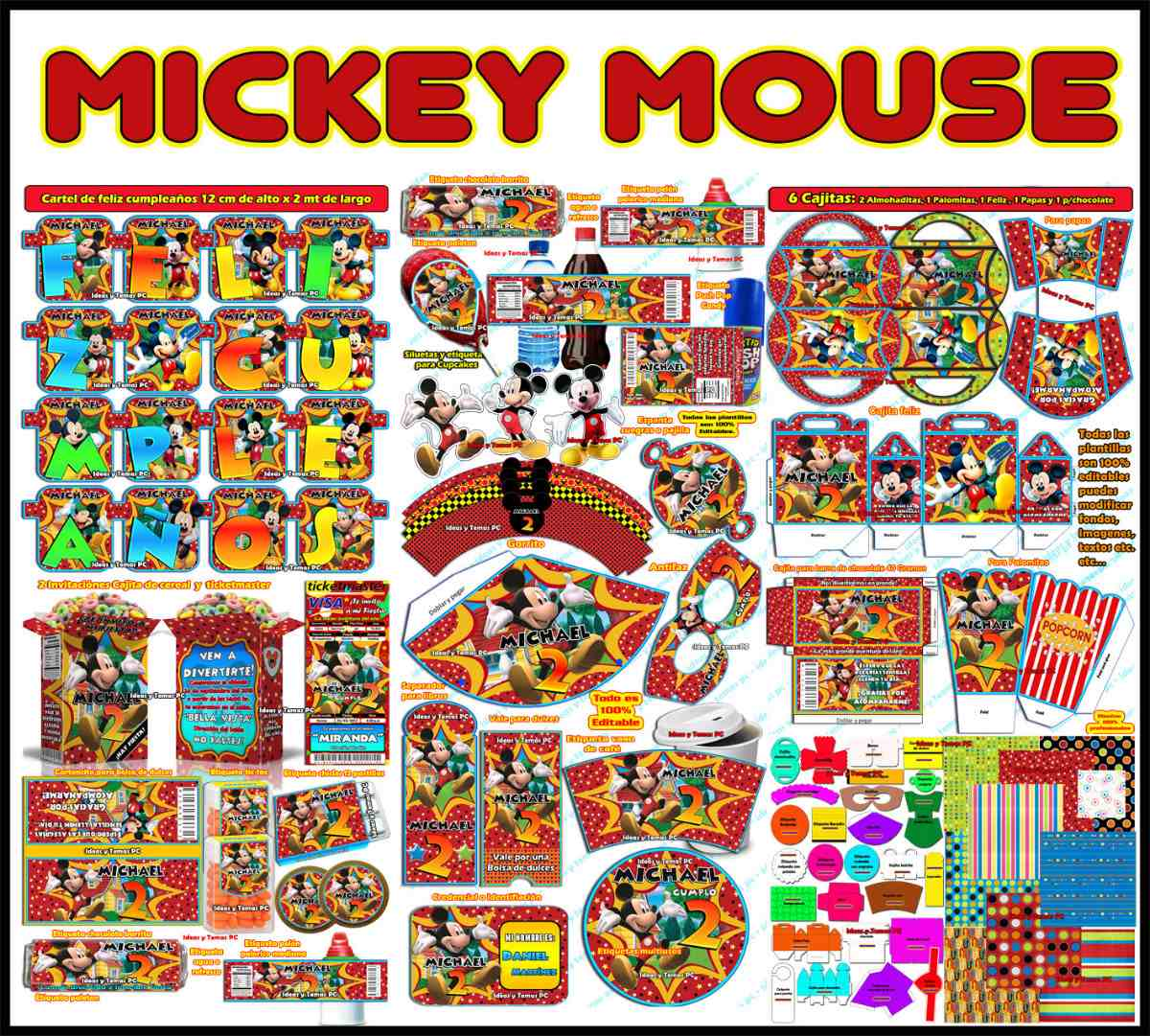 Mega Kit Imprimible Mickey Mouse Powerpoint 100% Editable ...