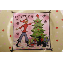 Plato Christmas Merry By J Brinley Hogar Navidad Decoracion