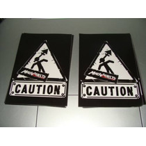 2 Calcomanias Del Juego Mad World Caution