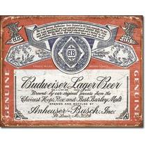 Poster Metalico Litografia Budweiser Logo Antiguo Vintage Re