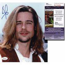 Foto Autografiada Por Brad Pitt Con Coa Jsa Angelina Jolie