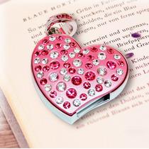 Memoria Usb 8gb Corazón Rosa Collar Con Cadena Y Cristal