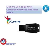 Memoria Usb De 8gb Para Computadora Musica Mp3 Fotos Videos