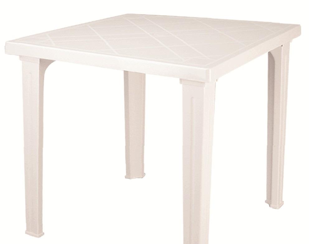 Mesa de plastico fram cuadrada blanca en for Mesa cuadrada blanca