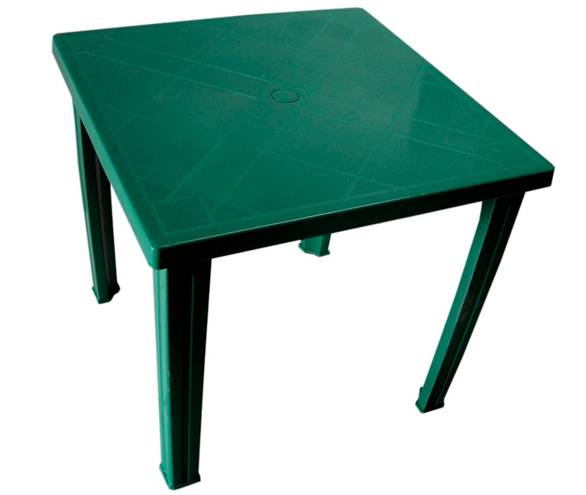 Mesa de plastico fram cuadrada verde en for Mesa plastico jardin