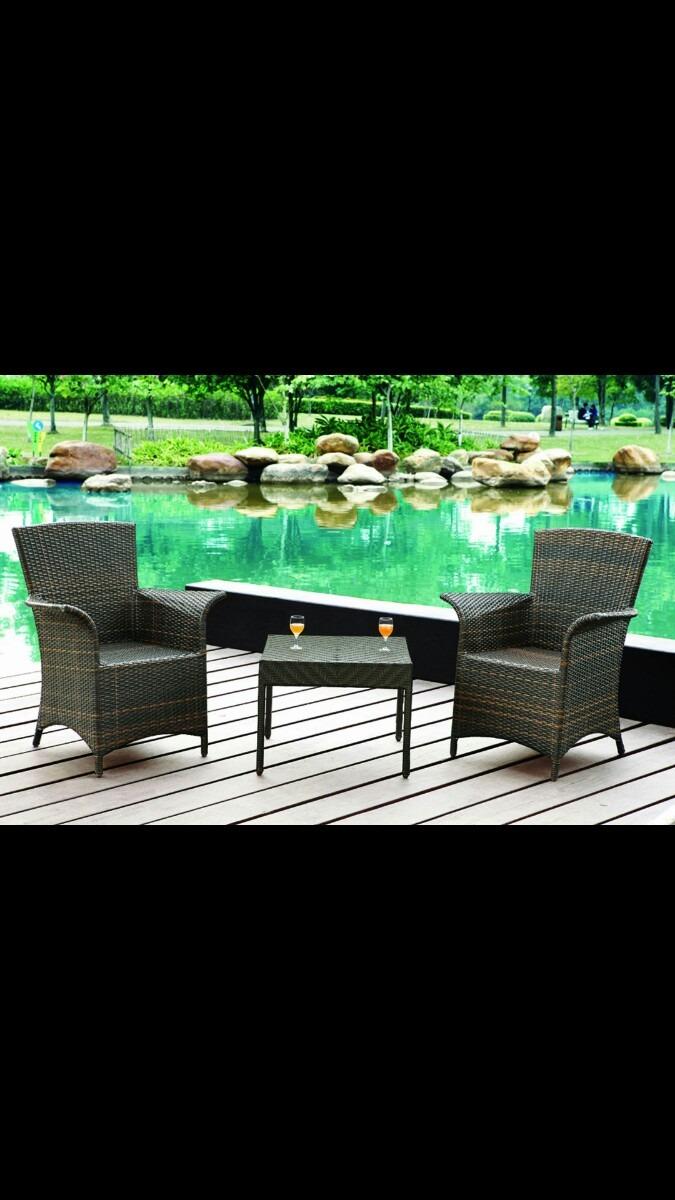 Mesa de rattan sint tico pvc special para exteriores for Mesas de rattan para jardin