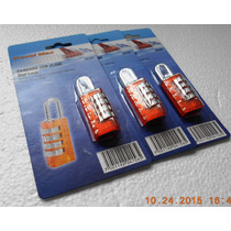 Paquete. C/3 Candados De Combinación 4 Discos, Naranja