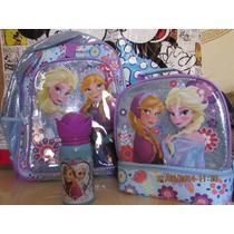 Mochila, Lonchera Y Vaso, Elsa, Anna De Frozen, Disney Store