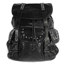 Mochila Am Landen® Black Synthetic Soft Leather Studded Back