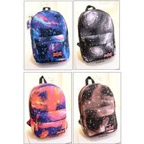 Mochila Backpack Escolar 3d Grande 43x31x17cm Galaxia E4f