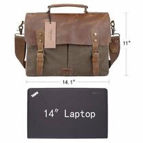 Mochila Mensajero Piel Algodon Canvas Bolso Maletin Laptop