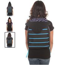 Hot Topic Mochila Black Purple Turquoise Stripe Hooded Backp