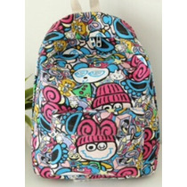 Mochila Backpack Gde 44x30x14cm Caricatura Cartoon Comic E4f