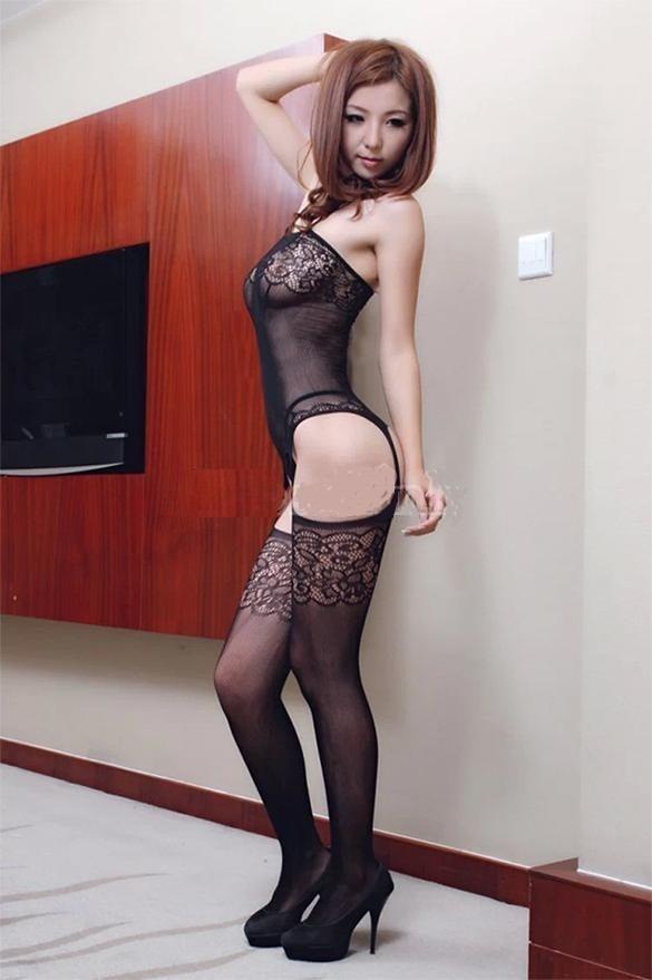 Moda Sexy Body Baby Doll Encaje Negro Con Ligueros Y