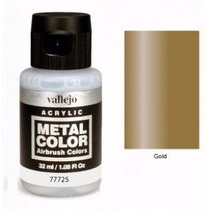 Pinturas Acrilicos Vallejo Metal Color 32 Ml Oro Gold 77725