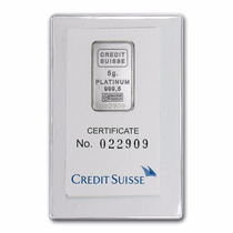 Crédito Suizo 5 Gramos Platino Puro 999.5 Con Certificado.