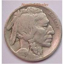 Moneda 5 Centavos Nickel Indio Bufalo 1919 Fecha Dificil Usa