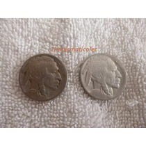 Moneda 5 Centavos Nickel Indio Bufalo 1924 Y 1925 Usa