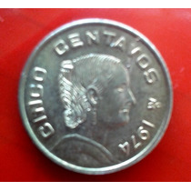 Moneda Cinco Centavos 1974 Josefa Ortiz De Dominguez