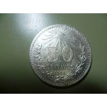 Moneda De 50 Cent. Plata Año 1906. Ley 800. Escasa.