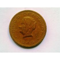Moneda 5 Centavos Josefa 1945, Escasa $40.00