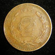 Moneda 2 Centavos 1935 Monograma Cobre Bronce