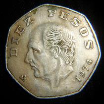 Moneda 10 Peso 1974 Hidalgo Fecha Clave