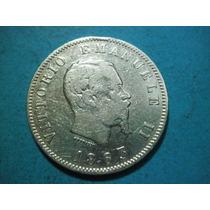 Italia Una Lira Fecha 1863 Plata 0.835 Escasa