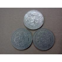 Lote De 3 Monedas De 50 Pesos Templo Mayor Años 82, 83 Y 84