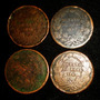 Lote 4 Monedas 1/8 Octavo De Real 1842 Mo Cobre Antigua