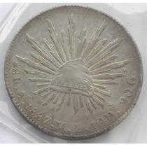 Moneda 8 R Alamos 1887 M L Muy Escasa Plata Excelente