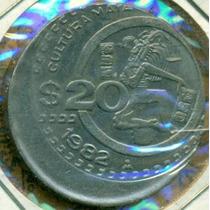 20 Pesos Cultura Maya 1982 Descentrada