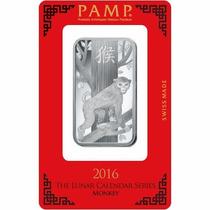 Barra 1 Onza Plata Pura .999 Pamp Suisse 2016 Año Del Mono