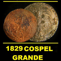 Moneda 1/4 Real 1829 Cospel Grande Cuartilla Federal