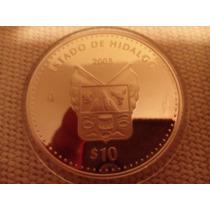 Moneda Escasa De Estados Hidalgo Onza Plata 100 Pesos