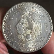Mexico 1947 $5 Cuauhtemoc Plata, Ver Foto, Brillo Original O